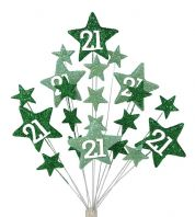 Star age 21st birthday cake topper decoration in shades of green - free postage